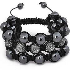 Unisex Bling Bracelet - SHAMBALLA 3 RANG noir
