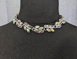Lovely Vintage Jewellery Silver-tone Aurora borealis Purple Rhinestone Necklace