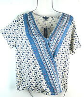 Lucky Brand Women's Blue Floral Wrap V-Neck Top T-shirt Blouse L NWT