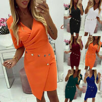 Womens V-Neck Bodycon Mini Dress Double-breasted Blazer Formal Office Dresses