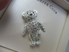 bear novelty pin, brooch Charter club rhinestone articulated teddy