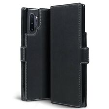 Samsung Galaxy Note 10 Plus Ultra Thin PU Leather Wallet Card Case in Black