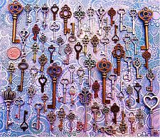63 Antique Old Look Bronze Skeleton Keys Lot Windchimes Unlocking Ring Brooch V1