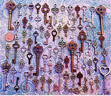 63 Antique Vtg Old Look Bronze Skeleton Keys Lot Pendant Heart Jewelry AK4