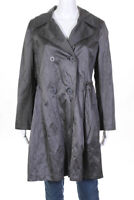 DKNY Womens Double Breasted Satin Trench Coat Gray Cotton Size Petite Large