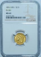 1851 NGC MS62 FS-301 RPD Repunched Date $2.50 Gold Liberty Head Quarter Eagle