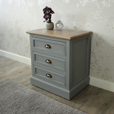 Grey wood 3 drawer bedside chest storage shabby vintage chic bedroom furniture