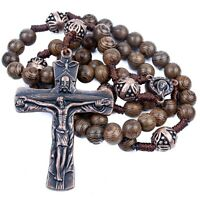 Our Father Wood Rosary Necklace Prayer Beads Large Cross & Miraculous Medal