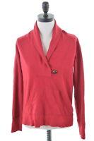 EDDIE BAUER Womens Shawl Neck Sweatshirt Jumper Size 14 Medium Burgundy Cotton