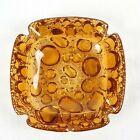 Libby Amber Glass Ashtray Pebble Bubble 4 Inch Square Vintage Mod Four Slot