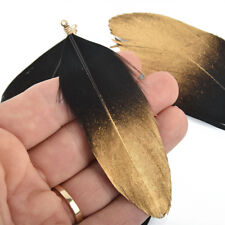 "20 Natural Feather Charms, Real Feather Black with Gold, 3.5"" long, chs5081"