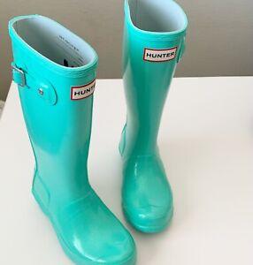 Hunter Original Kids Ocean Swell Glitter Rain Boots 2 Girls UK 13 Tiffany Blue