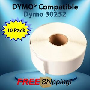 Dymo® Compatible 30252 10 Rolls White Rectangular Shaped LabelWriters shipping