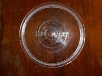 "Fire King Lid Clear Blue For 6.75"" Diameter Dish  ornate 2 significant chips"