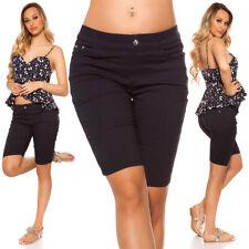 SEXY Hose kurze Hose Jeanslook Bermudas mit Strass Navy Blau Größe L