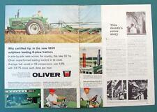 Original 1965 Oliver 1850 Tractor Ad OUTPLOWS LEADING 6 PLOW TRACTORS