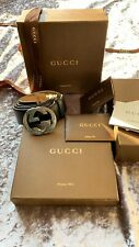 Gucci Signature Mens Belt Black With Silver Buckle 110cm