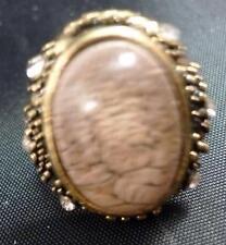 """Vintage 1.25"""" Lilac Plastic Bead Ring Rhinestones Adjustable"""