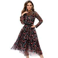 VS2# Retro Women Floral Print Long Sleeve Tunic Dress w/Bottoming Halter Dresses