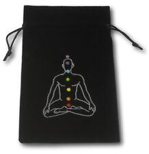 Velvet black drawstring tarot bag with chakra man embroidered on the front