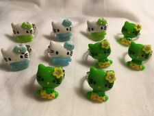 10pc Adjustable Hello Kitty Child's Plastic Blue/Green/Fashion Rings/Party Bag