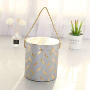 Round Flower Paper Boxes Bouquet Packing Case Lid Hug Bucket Presents Gift F~