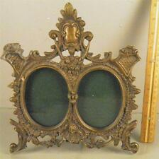 ANTIQUE VICTORIAN BRONZE ORNATE DOUBLE EASEL BACK PICTURE FRAME