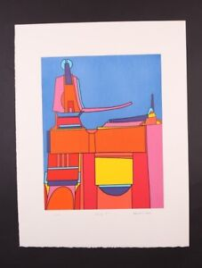 EDWARD J. SOKOL MID-CENTURY MODERN ABSTRACT SERIGRAPH ART PRINT SIGNED