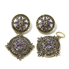 """Heidi Daus """"French Twist"""" Crystal Clip Earrings Removable Drop Tanzanite-Color"""