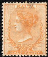 Malta 1870 Dull-orange 1/2d crown CC perf 14 lightly mounted mint SG7