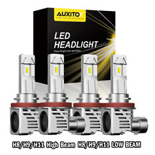 4X AUXITO H11 H8 H9 LED Headlight High Low Beam for Chevy Malibu 2006-2012 6500K