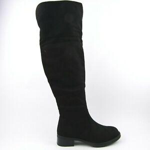 stivali donna camoscio sintetico tacco 4 alti scarpe cerniera
