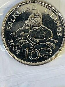 2004 Falkland Islands 10p Ten Pence Sea Lion Coin Circulated VAT Receipt Given