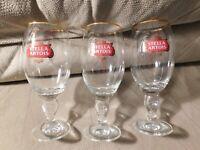 STELLA ARTOIS Chalice Beer Glasses Gold Rim Belgium Set Of 3 Glasses rc 33 cl