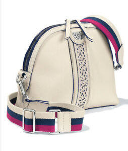 New Brighton Pretty Tough Leather Crossbody Dylan Domed Purse Ivory Bag NWT