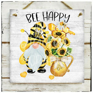 Wooden Hanging sign/picture Bee Happy Honey Bee Gnome Honeycomb Daisy Farmhouse