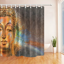 Solemn Golden Zen Buddha Shower Curtain Bathroom Waterproof Fabric & Hooks 70""