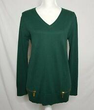 Michael Kors Womens Medium Cotton Tunic Sweater V-Neck Pullover Green L/S