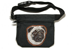 Pug embroidered Dog treat bag / treat pouch for dog show, training, walking.