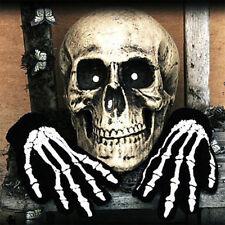 1Pair Halloween Skull Bone Silicon Rubber Skeleton Goth Racing Full Finger Glove