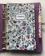 Filofax Personal Organiser Planner - Blue Floral Monthly Dividers - Laminated