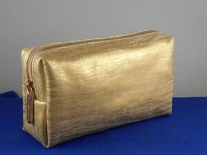 Bareminerals Metallic Gold Lame' Zip Top Rectangle Cosmetic Makeup Bag