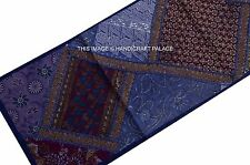INDIAN VINTAGE BLUE EMBROIDERED PATCHWORK RUNNER WALL HANGING TAPESTRY DECOR