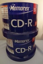 CD-R Memorex 80 Minutes 700 MB 52x Speed 2 Paks Of 50 Spindle Recordable New