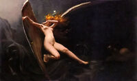 Oil painting luis ricardo falero  fairy under starry skies angel girl Hand paint