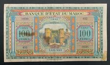 🌟 1944 100 Francs Morocco/Maroc Pick #27 - Great ink, CRISP! US printing WWII