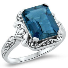 4 CT. GENUINE LONDON BLUE TOPAZ ANTIQUE DESIGN 925 SILVER RING SIZE 7.75,   #278