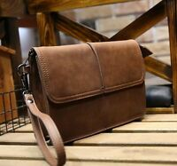 New Mens Vintage Leather Clutch Wrist Bag Handbag Organizer Briefcase Wallet