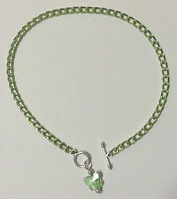 """10"""" anklet with Crystal Butterfly pendant Light Green aluminum chain Nickel Free"""