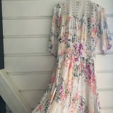 Long Sleeved button down Macrame Back Floral Maxi Dress Size L JAASE Brand